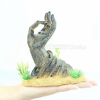 حوض السمك حوض السمك الديكور الراتنج البوذية اليد الكرتونية منزل الحلي الرئيسية حوض السمك