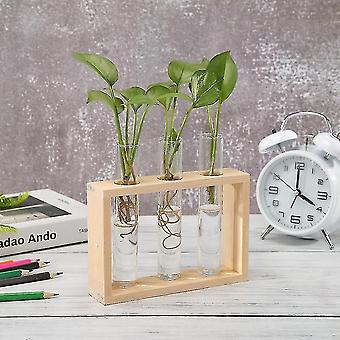 Vases nordic style eco friendly glass and wood vase planter terrarium d