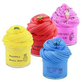 4pcs Fruit Plasticine, Slime Suit, Pressure Release Toy