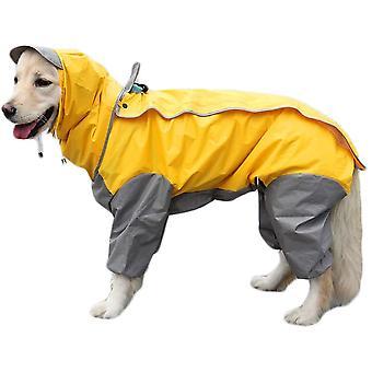 Impermeable amarillo para perros con sudadera con capucha desmontable, abrigo con cordón, 10 tamaños