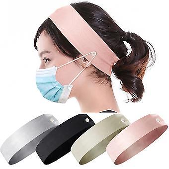 בגדי ראש לנשים עם כפתורים להחזקת מסכות פנים סרט ראש רצועת שיער