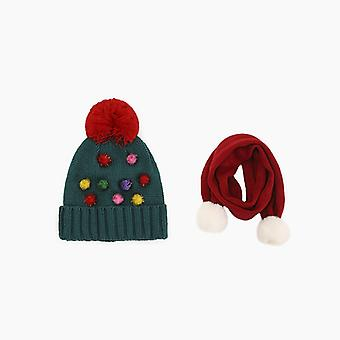 Lasten tyyli joulu neule hattu söpö fluff talvihatut, huivit 3-10 vuotta vanha