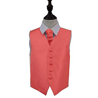 Coral Solid Check Wedding Waistcoat & Cravat Set for Boys