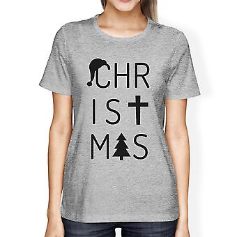 Christmas Letters Womens Grey Graphic T-Shirt Short Sleeve Cotton