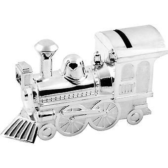 Bambino Silver Plated Money Box Large Train