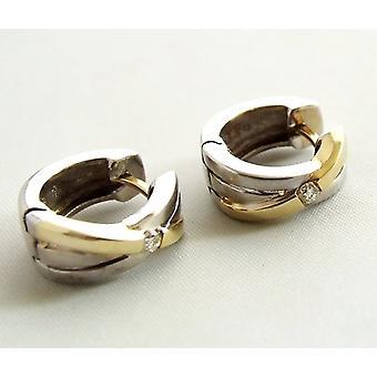 Bicolor gouden oorbellen met diamant