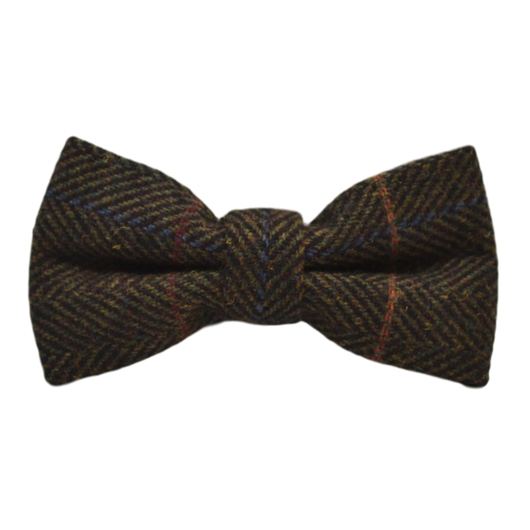 Luxury Dark Olive Green Herringbone Check Bow Tie & Pocket Square Set, Tweed