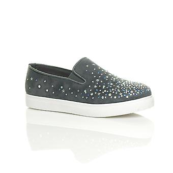 Ajvani womens flat diamante jewelled gem plimsoles trainers sneakers