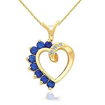 """5 / 8ct Blue Sapphire & timantti sydän riipus 14 karaatin keltainen kulta 1 """"pitkä"""