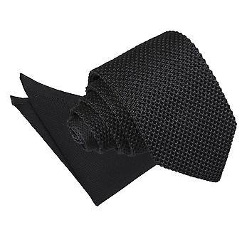 Czarny sweter wąski krawat & placu kieszeni zestaw