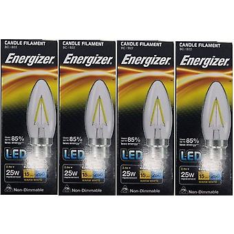 4 X Energizer Filament LED Candle Bulb 2.4W = 25W 250Lumen Warm White BC B22 [Energy Class A+]