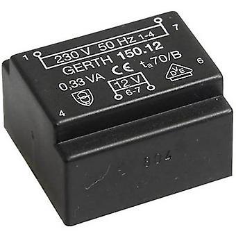 PCB mount transformer 1 x 230 V 1 x 18 V AC 0.35 VA 19 mA PT151801 Gerth