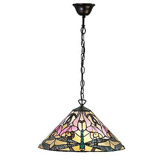 Interiors 1900 Ashton Pink Lilly & Dragonfly Tiffany Glass Pendant Lamp