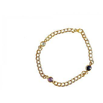 Gemshine Armband Vergoldet Rosenquarz Saphir Amethyst Rosa Blau Violett