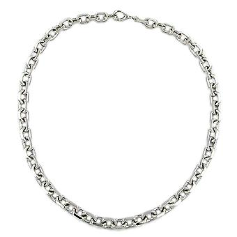 Silver necklace chain anchor chain diamantiert rhodium plated 50 cm