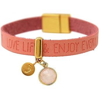 Fotavtrykk - 925 Sølv - forgylte damer - armbånd - - ønsker - Pink - rosa - Rosenkvarts - magnetiske nedleggelse