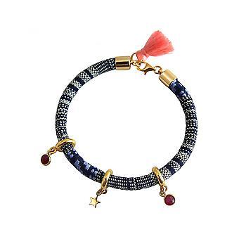 Women - bracelet - 925 silver plated - AZTEC - STAR - Star - Ruby - Red