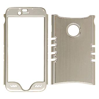 Ilimitado Cellular Rocker Snap-On Caja de Metal para Apple iPhone 6N - Plata con Borde de Plata