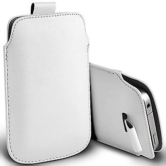 (White) Pull Tab Sleeve Faux Leather Pouch Case Cover For ZTE Fit 4G [ XL ]