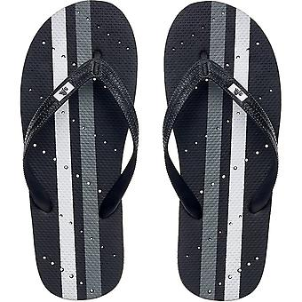Showaflops Antimicrobial Shower and Water Sandals - Black/Gray/White Stripe