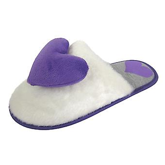 Coolers Womens Faux Fur and Love Heart Design Mule Slippers