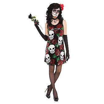 Czaszka Bnov + róż Sequin suknia kostium