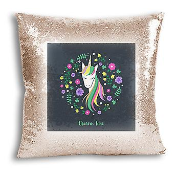 i-Tronixs - Unicorn Printed Design Champagne Sequin Cushion / Pillow Cover with Inserted Pillow for Home Decor - 15