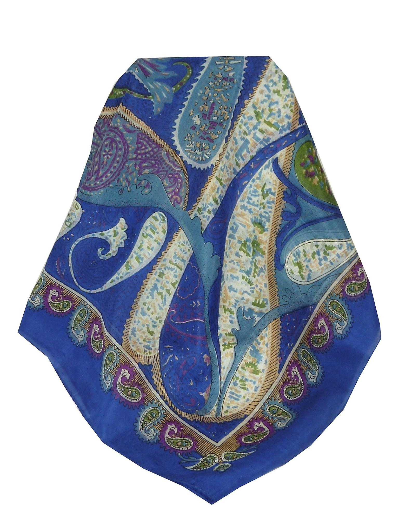 Mulberry Silk Classic Square Scarf Indore Blue by Pashmina & Silk