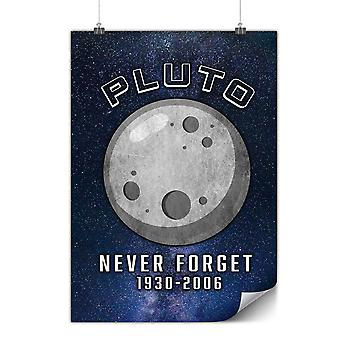 Matte or Glossy Poster with Pluto Astronomy Funny | Wellcoda | *y3546