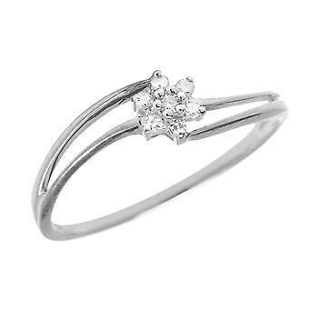 LXR الاسترليني الفضة الماس الكتلة خاتم 0.07ct
