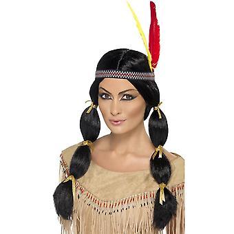 Длинный черный пони хвосты парик, индийский парик, черный, с косичками и оголовье