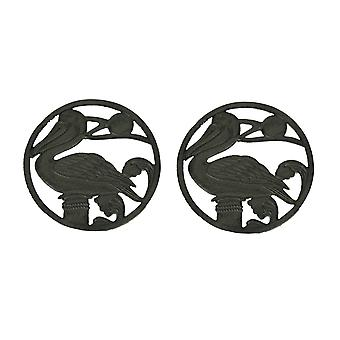 Rustic Brown Cast Iron Perched Pelican Coastal Trivets Set of 2