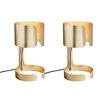 QAZQA Set von 2 Design Tischlampen matt gold - Waltz