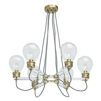 Glasberg - Pendant Six Light Antique Brass And Glass Candelabra Style 699010606