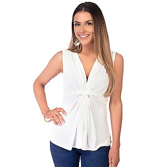 KRISP Womens Sleeveless Silky Knot Front Plunge V Neck Bluse Ruched Vest Top Party