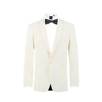 Dobell Mens Tuxedo bianco cena giacca Regular Fit con revers scialle