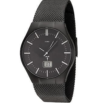 JOBO men's Watch Black radio radio clock stainless steel men's watch with date