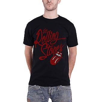 De Rolling Stones T Shirt Script Logo tong verdrietig officiële Mens Black