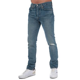 Mens Levis 501 skinny fit geripte jeans in licht blauw-knop Fly-skinny fit-
