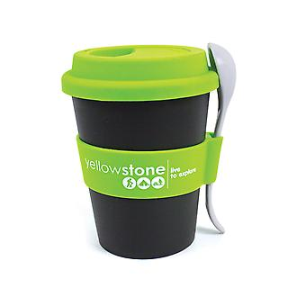 Yellowstone 340ml Snack Cup Black with Green Cover