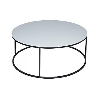 Gillmore White Glass e Black Metal Contemporary Circular Coffee Table