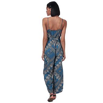 Womens Only Diana Scarf Print Jumpsuit In Blue Horizon