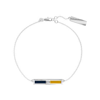 University Of Notre Dame Sterling Silver Diamond Bar Chain Bracelet In Blue & Yellow