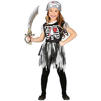 Meisjes Childs piraat skelet Halloween fancy dress kostuum