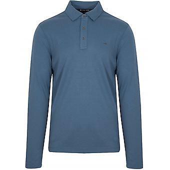 Michael Kors mørk Chambray Langærmet Polo skjorte