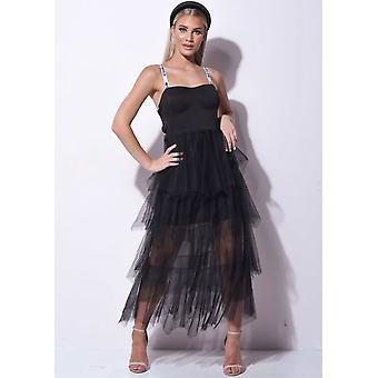 Tiered Tüll Korsett Stil Tasse Detail Midaxi Kleid schwarz