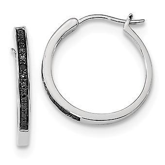 925 Sterling Zilver gepolijst Prong set Gift Boxed Rhodium verguld Black Diamond Hoop Oorbellen Sieraden Geschenken voor vrouwen