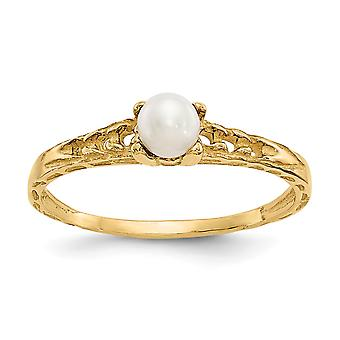 14k Yellow Gold Polished 3mm Freshwater Cultured Pearl for boys or girls Ring Size 3
