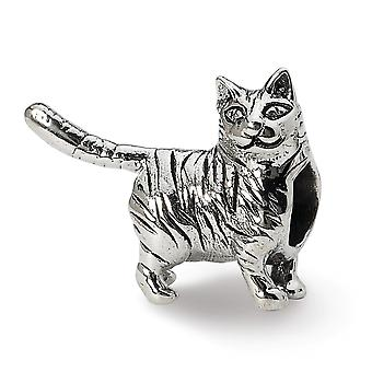 925 plata esterlina pulido acabado reflexiones americanas de pelo corto gato perlas encanto colgante collar regalos de joyería para Wom