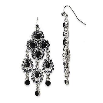 Silver tone Shepherd hook Black Glass Stones Chandelier Earrings Measures 73x24mm Wide Jewelry Gifts for Women